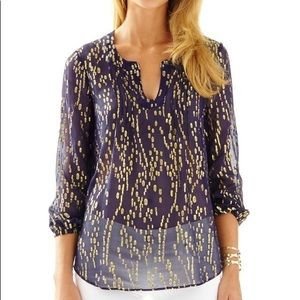 Lilly Pulitzer Navy Colby top XS